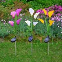 Solar simulation flower Calla lily LED ground plug garden decoration lawn lamp