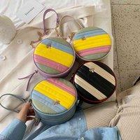 Ins meninas Arco-íris Circular Bolsa de Metal Corrente de Árvore Mensageiro Saco Kids One-ombro Bags Designer Mini Carteira 758 v2