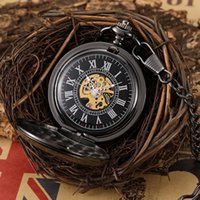 Pocket Watches Vintage Black Hollow Heart Shape Hand Wind Mechanical Watch Retro Skeleton Pendant Steampunk Mens With Chain Gift