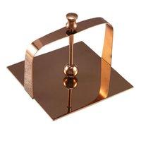 Ящики тканей салфетки 1 шт. Нержавеющая сталь салфетка для салфетки настольная бумага (розовое золото)