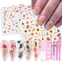 11pcs Colorful Flowers Leaf Nail Art Transfer Sticker Summer Hydrangea Daisy Butterfly Designs Manciure Decoration JISTZC01-11-11