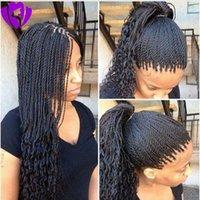 Synthetische Box Zöpfe Haarspitze Front Perücke Havana Hitzebeständige Haare Verworrene Twist Spitze Perücke Für Schwarze Frauen Schnelles Verschiffen