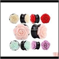 Plugs Tunnels 2Pcs Beautiful Rose Flower Acrylic Plug Tunnel Shellhard Gauge Ear Gauges Expander Body Piercing Jewelry For Women Bijou Mdoss