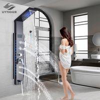 Luxury Black / Spoved Bathroom Doccia Doccia rubinetto LED Pannello Column Column Bathtub Miscelatore con set di schermo a mano temperatura