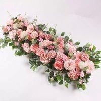 Decorative Flowers 100CM DIY Wedding Flower Wall Arrangement Supplies Silk Peonies Rose Artificial Row Decor Iron Arch Backdrop FY2991 EE