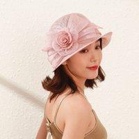 1920 de style britannique chic fleur 100% philippin Sinamay Fedora Feedora Femmes Cloche Hat Lady Church Show Defy Race Fascinator