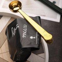 Cuchara de acero inoxidable Cucharas de medición de café con clip de sellado Cocina Escala de hornear Sazonando leche en polvo Helado Cucharas