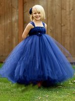 Blue Beautiful Lace Ball Gown Flower Girls Dresses For Weddings Tiered Tulle Spaghetti Straps Ankle Length First Communion Dress