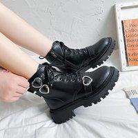 Boots Women 2021 Flat Heel Autumn Shoes Luxury Designer Round Toe Lace Up Rock Ladies Black Fashion Rubber Ankle Med Basic S