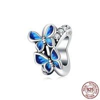 12 mix design bonito 925 esterlina prata azul borboleta encantos para pulseira contas originais fazendo pingente colar diy jóias acessórios de jóias