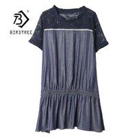 Vintage Artı Boyutu A-line Dantel Denim Patchwork Kadınlar İlkbahar Yaz Kısa Kollu Kot Bayanlar Gevşek Midi Gömlek Elbise D12801X 210416