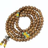 Beaded, Strands 108 Beads Mala Prayer Bracelet Men Jewelry Vintage Tibetan Silver Buddhist Meditation Yoga Rosary Wood For Women Gifts