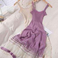 Мода линия стройная сладостная тонкая сексуальная летняя подол, пэчворк сетки вязаное платье женщины спагетти ремешок слеш без рукавов без рукавов без рукавов 210429