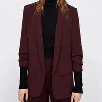 여성용 정장 블레이저 사무실 레이디 블레이저 가을 2021 패션 블랙 흑색 녹색 노치 칼라 현대 탑스 여성 코트 outwear