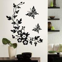 Wall Stickers 3D Butterfly Flowers Sticker For Kids Room Bedroom Living Fridge Home Decor DIY &