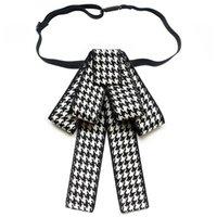 Корейский винтажный ткань Houngstooth бантика галстука отворотный штифт галстук ленты брошь ювелирные изделия роскошные брош подарки для женщин аксессуары шеи галстуки