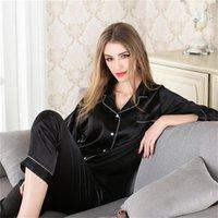 Femmes Pyjamas Home Service Suit Dames Casual Casual Cardigan Cardigan Long-Manches Simulation de la qualité de la soie Pajama Set