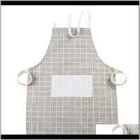 Textiles Home Garden Drop Entrega 2021 Patrón ajustable Chef Delantales Camarero Cocina Cocinero Cocinero APRONE Vestido de babero para el restaurante Hombres para mujer