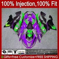 Corps OEM pour Kawasaki Ninja ZX-636 ZX-6R ZX600 ZX 6R 6 R 636 600 CC 12NO.120 ZX6R 13 14 15 2016 2017 2018 600CC ZX636 2013 2014 2015 16 17 18 Férées d'injection Violet Gloss