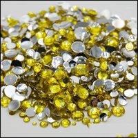 Decoraciones Arte Salón Salud Beauty5000PCS Tamaño de alta calidad Color amarillo Muchos espalda plana Piedra fija no térmica Gema Crystal Rhinest