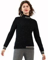 Zhili Mulheres 100% Cashmere Striped Knit High Neck Sweater Suéteres