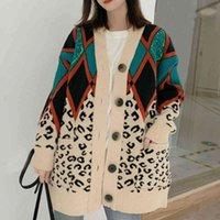 Kazak Sonbahar Kadın V Boyun Kırmızı Yeşil Bej Patchwork Zigzag Leopar Rahat Uzun Kazak Örgü Hırka Giyim