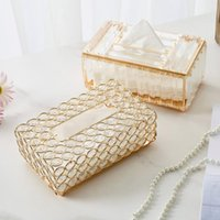 Tissue Boxes & Napkins Nordic Home Decoration Accessories Light Luxury Crystal Box Golden Wipe Case Living Room Bedroom Aesthetics