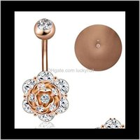 Çan gül çiçek göbek düğmesi kristal 316L paslanmaz çelik piercing göbek yüzük vücut takı uvu3o kmfcv