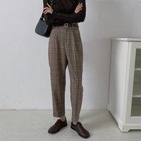 Женские брюки Capris Zhisilao плед женщины винтажный офис носить высокие талии брюки муджера с ремень решеткой прямой гарем 2021 плюс размер