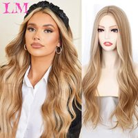 Synthetic Wigs LiangMo Long Wavy Wig Dark Root None Lace Middle Part Side Hair Ombre Cosplay Blonde Heat Resistant For Women
