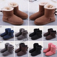 chestnut half Ankle Boots women girls Snow Boot womens mini bailey bow ii brooch class short w classic Winter Shoes