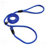 Dog Collars & Leashes 1.0*140cm Pet Nylon Adjustable Loop Training Lead Collar Leash Traction Rope (Blue)