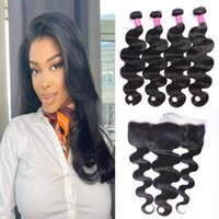 Brazilian Virgin Human Hair Weaves Extensions Body Wave Natual 1B Color 4 Bundles With Lace Frontal 13*4 Unprocessed High Quality