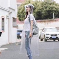 Плащи, увлекая мода прозрачный взрослый водонепроницаемый пончо ясные женщины девушки длинный корейский стиль пластиковый плащ со школьной сумкой \ рюкзак