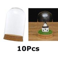 المزهريات 10PCS 8X12CM الزجاج قبة غطاء cloche جرس جرة terrariums مع الخشب الفلين، حفلات الزفاف ديكورات المنمنمات الحرفية