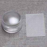 Nail Art Mallar 3,8cm Stor klar transparent gelé stamper med capskrapa lätt att rengöra stämpelverktyg maj12