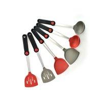 Ponto de cozimento vermelho não fugas de silicone spatula conjunto de cozinha utensílios de cozinha