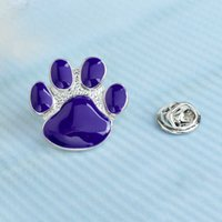 Purple Dog Paw Pin Lindo Dibujos animados Broche Gatito Gatito Papa Broche Pines Puppy Garra Insignia Regalo Joyería para Propietarios de PET H1018