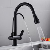 Filtered Crane For Kitchen Faucet Matte Black Pull Out Spray 360 Rotation Water Filter Tap Three Ways Sink Mixer