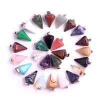 Bulk Natural Stone Pendant Hexagonal Prism Bullet Quartz Point Healing Crystals Chakra Cross Heart Charm For Necklace Jewelry Making 2179 Q2
