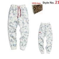 Moda para hombre Pantalones deportivos Espacio Pantalones de algodón Hombres Tacksuit Fondos Hombres Joggers Tecnología Fleece Camo Pantalones con caja