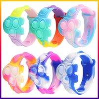 Fidget giocattoli Rainbow Silicone Silicone Modello Stress Sfort Silver Dimple Push Bubble Soft Bracelet Squeeze Giocattolo Puzzle Sicurezza