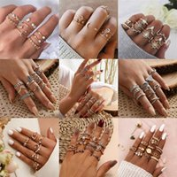 Bohemia Simple Design Gold Silver Color Hollow Geometric Finger Ring Set Multi layer Opening Knuckle Rings for Women