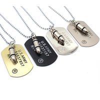 Pendentif Colliers Fashion 4 couleurs Collier de chien de l'armée pour hommes Femme Simple Punk Rock Hip Hop Chains Bijoux Cadeau Long