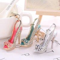 50pcs tacco alto scarpe portachiavi strass cristallo borsa di cristallo auto catena borsa decorativa lega di portachiavi donne charms portachiavi 5x4.5mm pendente hys06-1-1