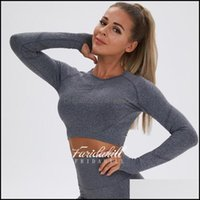 Yoga Exercise Athletic Outdoor Apparel & Outdoorsyoga Outfits Sexy Long Sleeve Women Sports Shirt Dark Grey Gym Wear Sport Top Fitness For F