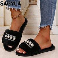 Slippers Fur Flats String Bead Casual Luxury Shoes Warm Short Plush Boots Women Cotton 2021 Winter Fashion Flip Flops Female