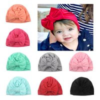 Fashion Baby Elastic Hat Solid Color Bow Boys Girls Infant Beanie Caps Soft Turban Head Wraps Toddler Kids Bonnet Beanies Newborn Photography Props