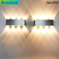 2PCS Lámpara de pared de aluminio 220V 8W HighPower LED LED blanco cálido 2800k para decoración del hogar Fondo interior Montaje de superficie Luz de mancha