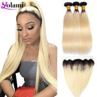 Bulbos de cabelo humano Yolami 1B613 pacotes loiros com frontal Ombre raízes escuras brasileiro reto 3/4 13x4 orelha para